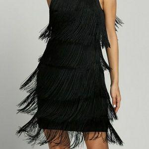 Dresses & Skirts - Fringe Black Spaghetti Strap Dress